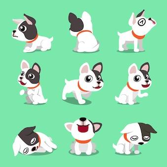 Personaje de dibujos animados lindo bulldog francés plantea