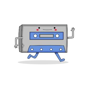 Personaje de dibujos animados lindo cassette huyendo