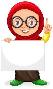 Personaje de dibujos animados lindo chica joven con cartel en blanco