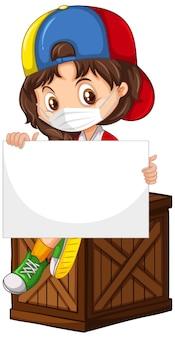 Personaje de dibujos animados lindo chica joven sosteniendo pancarta en blanco