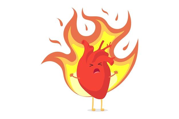 Personaje de dibujos animados lindo corazón ardiendo de pasión, amor y sufriendo de sentimientos no correspondidos. órgano interno humano en llamas. ilustración de vector de símbolo romántico conceptual