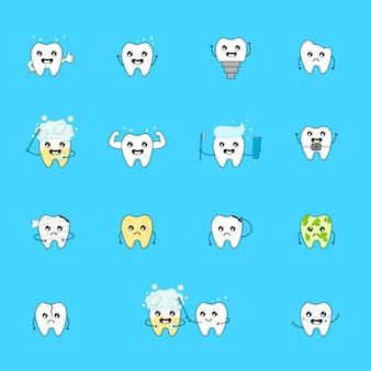 Personaje de dibujos animados lindo diente. emoticonos con diferentes expresiones faciales. cuidado dental