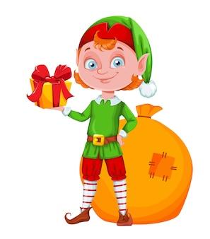 Personaje de dibujos animados lindo elfo de navidad con caja de regalo