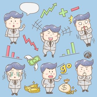 Personaje de dibujos animados lindo empresario.