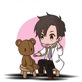 Personaje de dibujos animados lindo estilo médico.