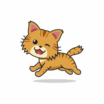 Personaje de dibujos animados lindo gato atigrado marrón corriendo