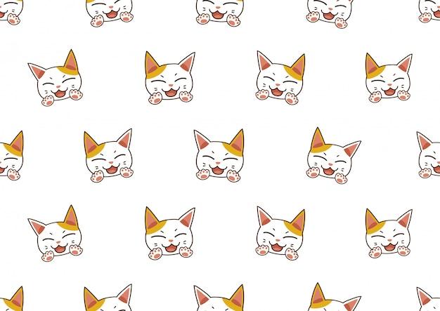 Personaje de dibujos animados lindo gato sin fisuras de fondo