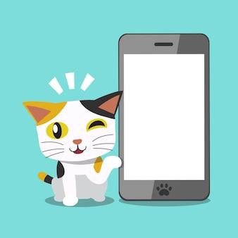 Personaje de dibujos animados lindo gato y gran teléfono inteligente