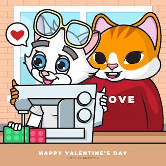 El personaje de dibujos animados lindo del gato de las parejas estaba cosiendo usando una máquina de coser
