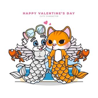 Personaje de dibujos animados lindo de gato sirena de parejas con feliz día de san valentín