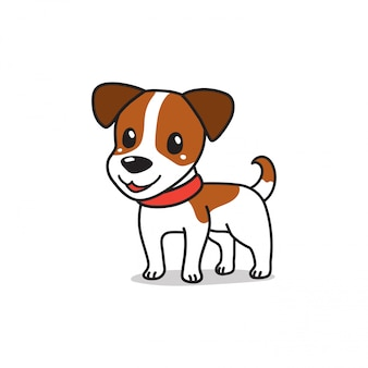 Personaje de dibujos animados lindo jack russell terrier perro