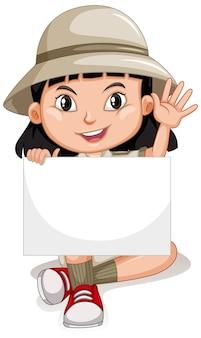 Personaje de dibujos animados lindo joven sosteniendo pancarta en blanco