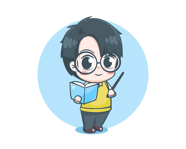 Personaje de dibujos animados lindo maestro