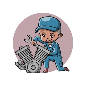 Personaje de dibujos animados lindo mecánico