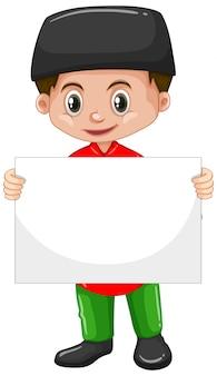 Personaje de dibujos animados lindo niño con cartel en blanco