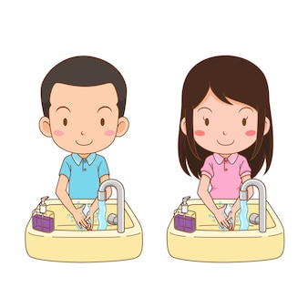 Personaje de dibujos animados de lindo niño y niña que se lava las manos.