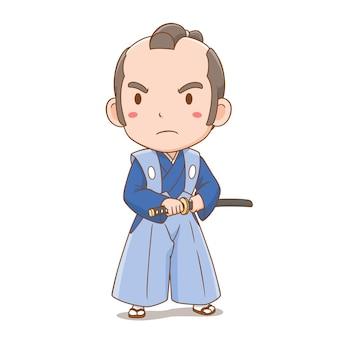 Personaje de dibujos animados de lindo niño samurai japonés.