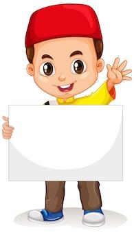 Personaje de dibujos animados lindo niño sosteniendo banner en blanco