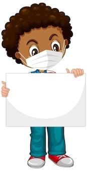 Personaje de dibujos animados lindo niño sosteniendo pancarta en blanco
