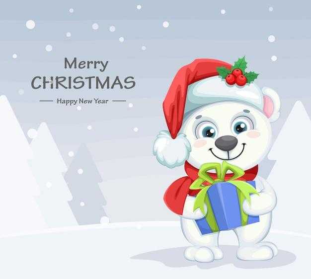 Personaje de dibujos animados lindo oso polar con caja de regalo