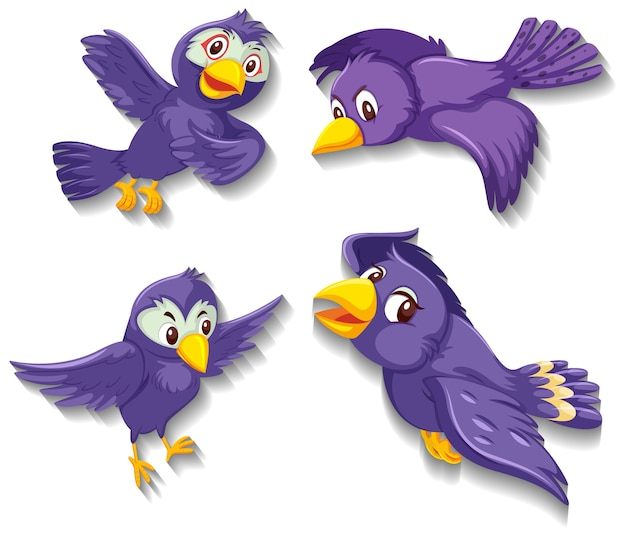 Personaje de dibujos animados lindo pájaro púrpura