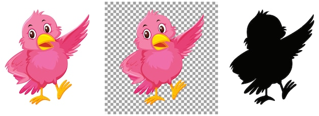 Personaje de dibujos animados lindo pájaro rosa