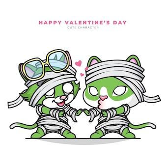 Personaje de dibujos animados lindo de pareja gato momia y feliz día de san valentín