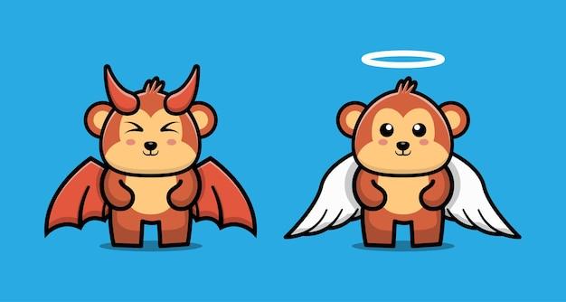 Personaje de dibujos animados lindo de pareja mono diablo y mono ángel