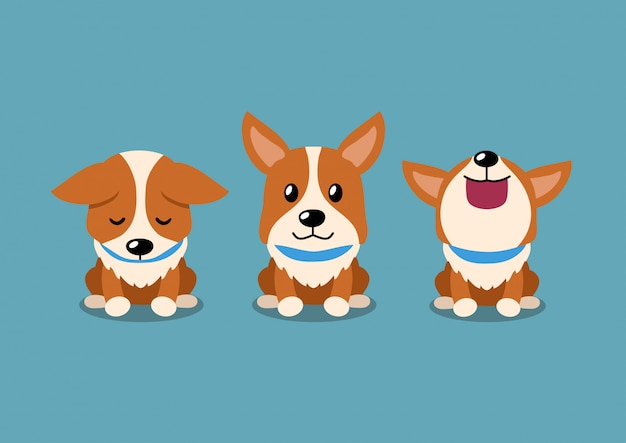 Personaje de dibujos animados lindo perro corgi poses