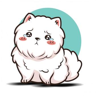 Personaje de dibujos animados lindo perro pomerania