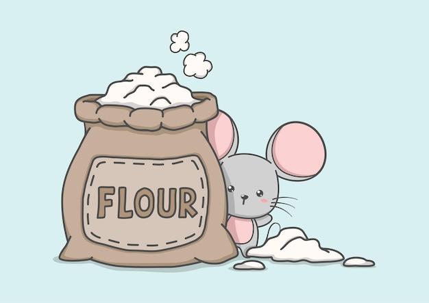 Personaje de dibujos animados lindo ratón con bolsa de harina