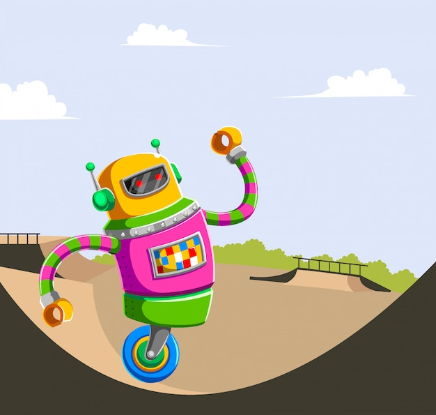 Personaje de dibujos animados lindo robot jugando en skate park