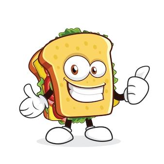 Personaje de dibujos animados lindo sándwich que muestra el pulgar hacia arriba