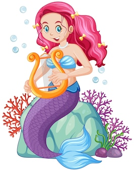 Personaje de dibujos animados lindo sirena