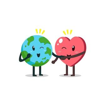 Personaje de dibujos animados lindo tierra y corazón
