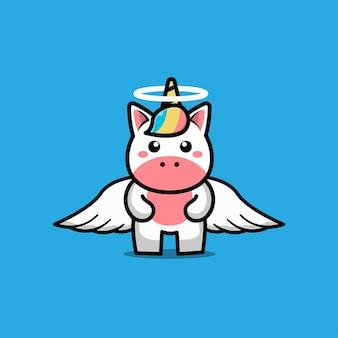 Personaje de dibujos animados lindo del unicornio ángel