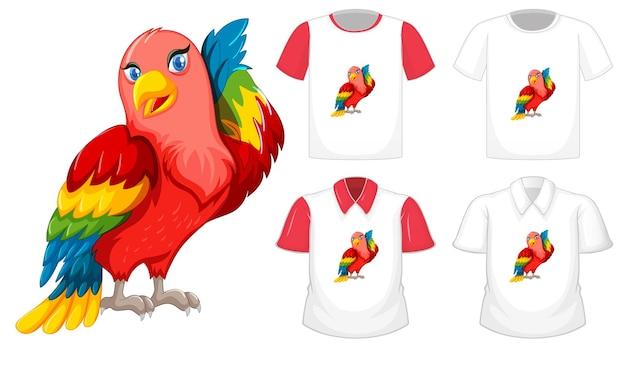 Personaje de dibujos animados de lovebird con muchos tipos de camisas sobre fondo blanco