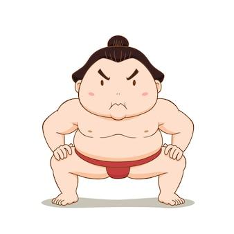 Personaje de dibujos animados de luchador de sumo