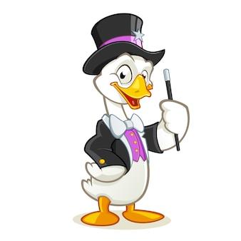 Personaje de dibujos animados de mago de ganso con palo de mago