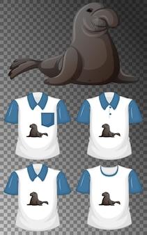 Personaje de dibujos animados de manatí con muchos tipos de camisas sobre fondo transparente