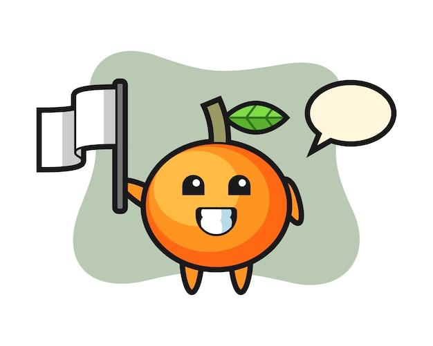 Personaje de dibujos animados de mandarina sosteniendo una bandera, estilo lindo, pegatina, elemento de logotipo