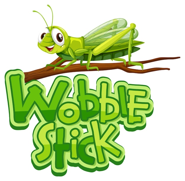 Personaje de dibujos animados de mantis con banner de fuente wobble stick aislado