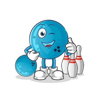 Personaje de dibujos animados de la mascota de la bola de boliche