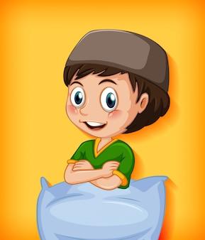 Personaje de dibujos animados masculino con almohada