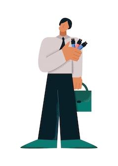 Personaje de dibujos animados masculinos con maletín de muestreo colorido tubo de ensayo estilo de extremidades grandes