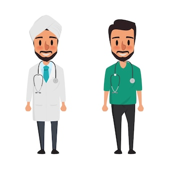Personaje de dibujos animados de médico indio para la medicina.