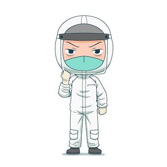Personaje de dibujos animados del médico en ropa de protección de seguridad.