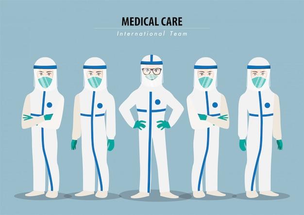 Personaje de dibujos animados con médicos profesionales vistiendo una suite protectora y parados juntos para combatir el coronavirus