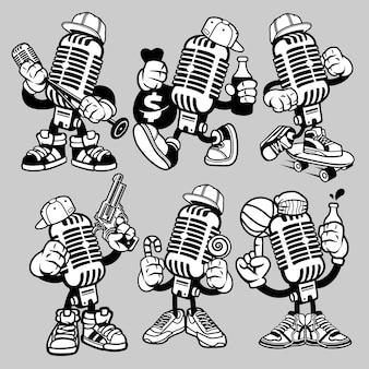 Personaje de dibujos animados de micrófono