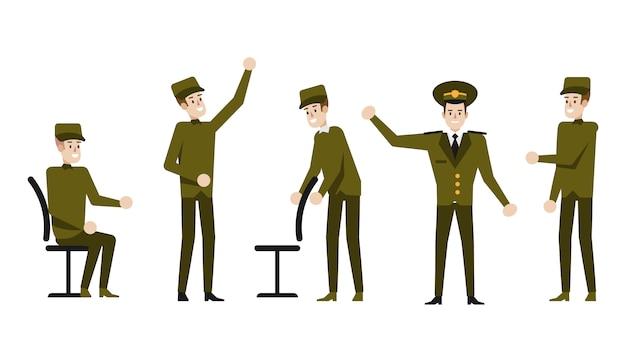 Personaje de dibujos animados militar